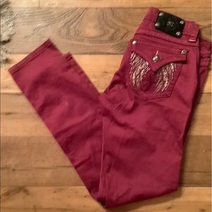 Miss Me one of a kind jeans dark pink color sz30